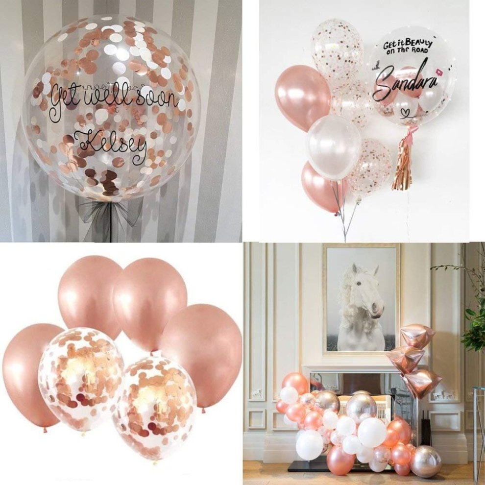 IEONGI Party Balloons Decoration Rose Gold Set 12 Inch Confetti Birthday Decor