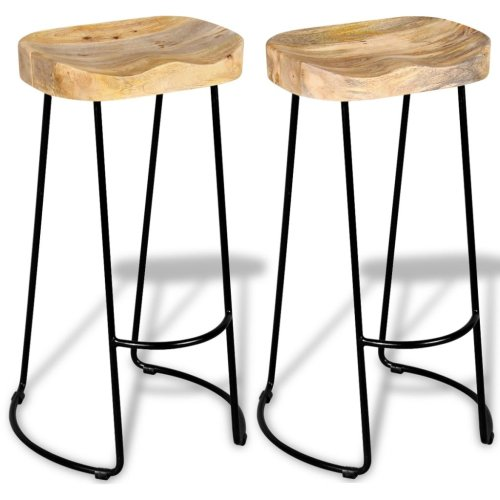 Super Vidaxl 2X Solid Mango Wood Gavin Bar Stools Home Kitchen Dining Room Chair Camellatalisay Diy Chair Ideas Camellatalisaycom