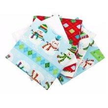 Fat Quarter Bundle - 100% Cotton - Snowman - Pack of 5