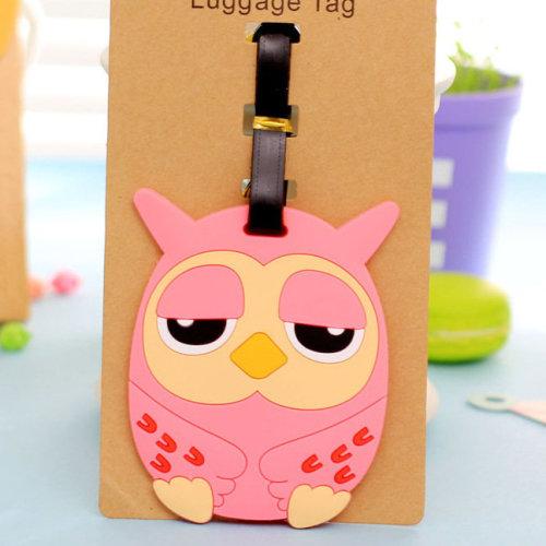 Pink Blue Owl Luggage Tag