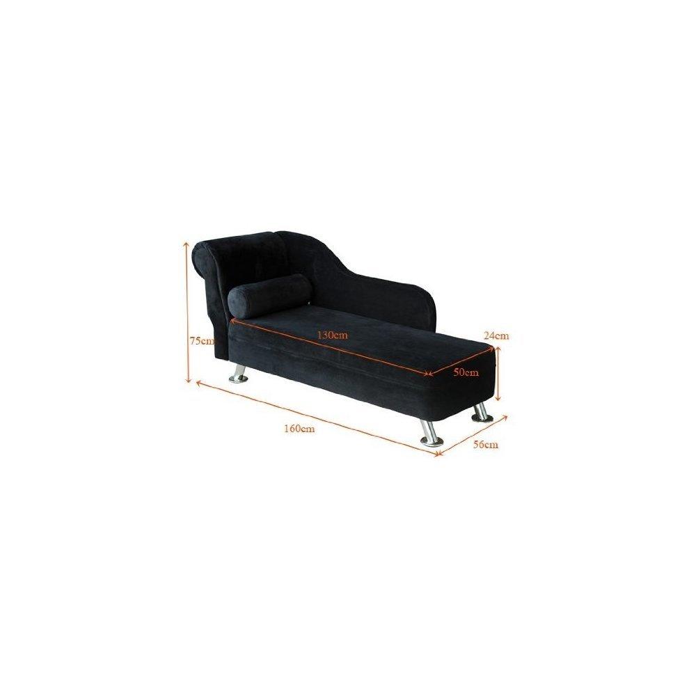 Homcom black velvet chaise longue sofa bolster cushion for Black velvet chaise lounge