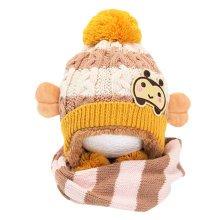 Winter Baby Kids Girls Boys Hats Warm Scarf Caps Plush Ear Protect Gift Set-Beige