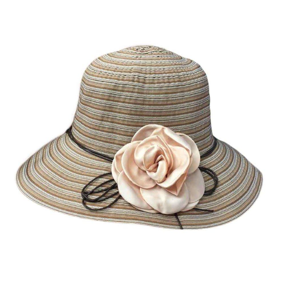 d03670295785f Flower Wide Brim Beach Hat Summer Foldable Sun Hat Straw Hats for Women ...