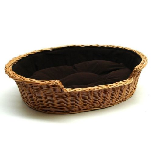 Medium Willow Dog Cat Pet Wicker Basket Dark Cushion