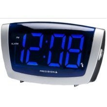 Precision Radio Contolled Mains Blue LED Digital Silver Alarm Clock PREC0072