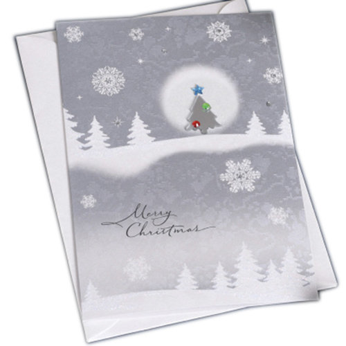 Christmas Cards Greeting Cards Christmas Gift Beauitful Xmas Cards (4 Cards and Envelopes), Silver#8