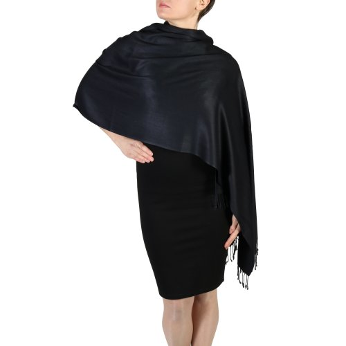 (Black) York Shawls Fairtrade Handcrafted Soft Pashmina Wrap
