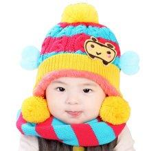 Winter Baby Kids Girls Boys Hats Warm Scarf Caps Plush Ear Protect Gift Set-Yellow