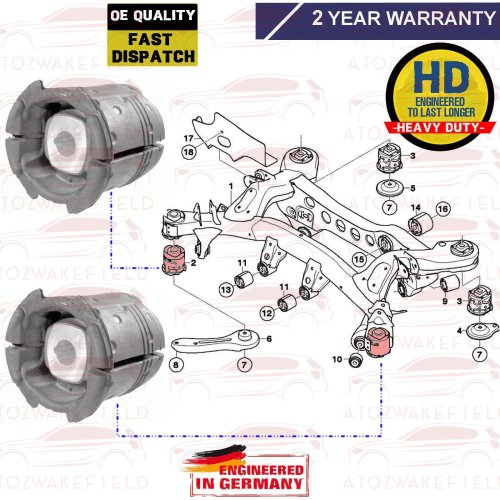 FOR BMW REAR AXLE FRONT SUBFRAME MOUNTING BUSH BUSHES ABM GERMANY 33316758259