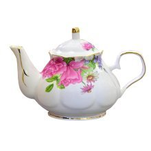 England Style Red Floral Ceramic Teapot Coffee Pot