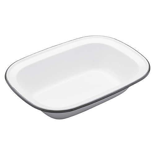 Kitchen Craft 26 x 20 x 5.5 cm Living Nostalgia Enamel Oblong Pie Dish, White/Grey