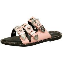 Arianne Womens Flats Peep Toe Buckled Sandals