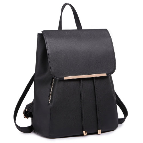Miss Lulu Women Leather Backpack Girls School Bag Drawstring Daypack Black