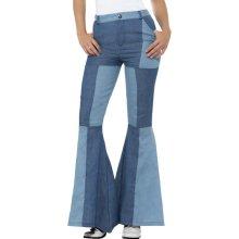 Medium Ladies Deluxe Flared Trousers -  flares womens fancy dress deluxe flared ladies trousers adult denim costume 70s patchwork blue 60s disco