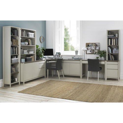 Bentley Designs Bergen Soft Grey Double Office Desk Package