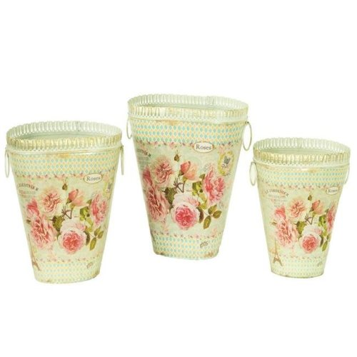 Dolce Mela DMMV743-S3 French Country Planters Vintage Metal Decorative Vases & Flower Pots - Set of 3