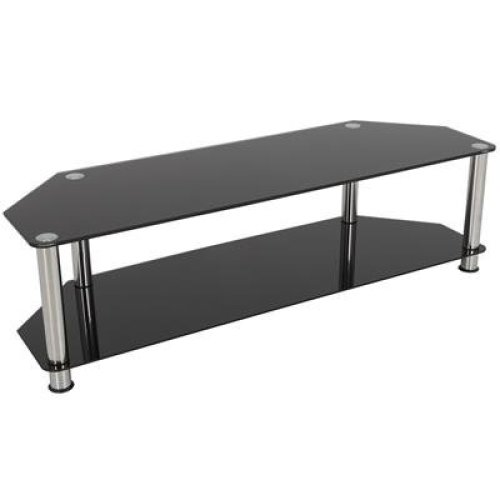 King Universal Black Glass TV Stand 140cm suitable up to 65' inch for HD Plasma LCD LED OLED Curved TVs