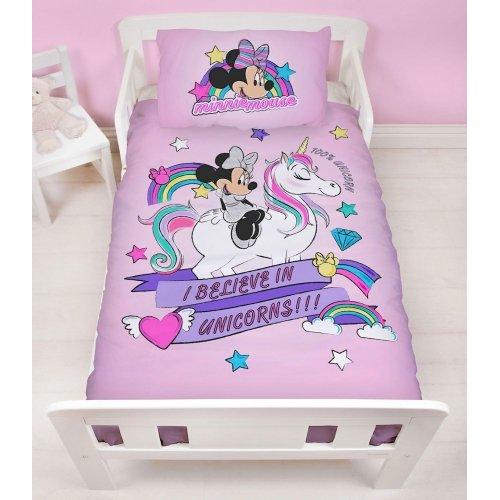 Disney Minnie Mouse Unicorn Reversible Junior, Toddler Cot Duvet Cover