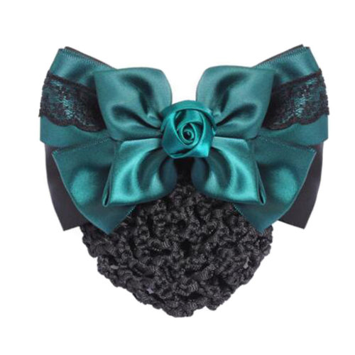 Womens Elegant Hairnet Hair Clip Snood Net Bow Barrette Hairdressing, K
