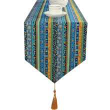 Southeast Asia Cloth Table Runner Home Decor Bed Runner (12*71 Inch), Blue