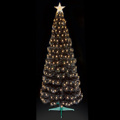 Premier Decorations - Fibre Optic Multi-Action Slim Black Christmas Tree