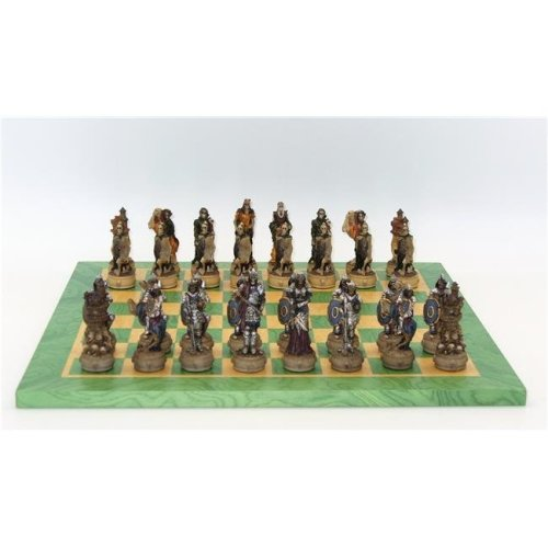 Royal Chess R70637-GT 3.25 in. Skeleton Kings Chessmen on Green & Tan Wood Chess Board