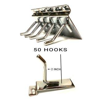 "50X SLATWALL HOOKS 2"" RETAIL SHOP WALL SLAT BOARD DISPLAY SINGLE PRONG"