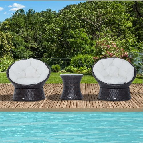 Outsunny 3pc Furniture Set | Rattan Swivel Chairs & Bistro Table