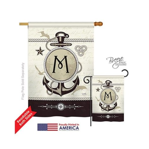 Breeze Decor 30195 Nautical M Monogram 2-Sided Vertical Impression House Flag - 28 x 40 in.