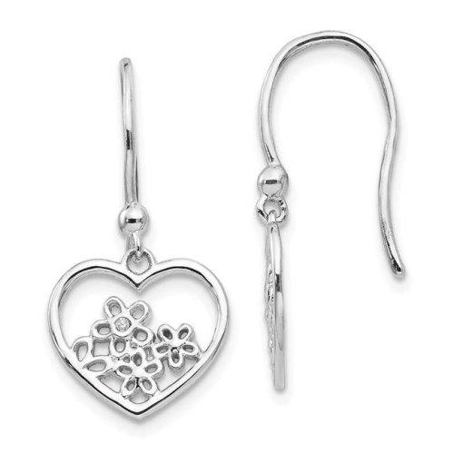 White Ice Qw344 Sterling Silver Heart Shaped With Flower Shepherd Hook Earrings