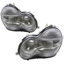 Mercedes  C Class W203 10/2000-9/2002 Headlights Headlamps 1 Pair O/s & N/s