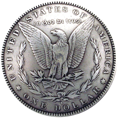 "Concho Antique Silver Screwback 1.375""-Morgan Dollar Tails"
