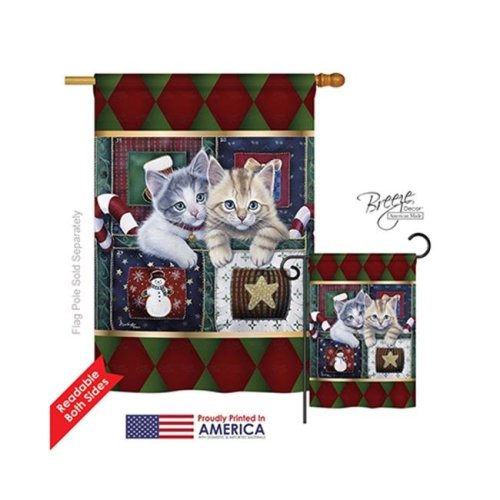 Breeze Decor 14097 Christmas Christmas Calendar Kittens 2-Sided Vertical Impression House Flag - 28 x 40 in.