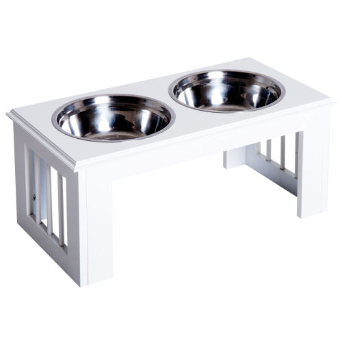 Pawhut Stainless Steel Pet Feeder, 58.4Lx30.5Wx25.4H cm-White
