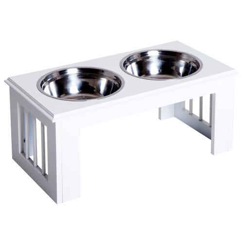 Pawhut Stainless Steel Pet Feeder, 58.4Lx30.5Wx25.4H cm-White