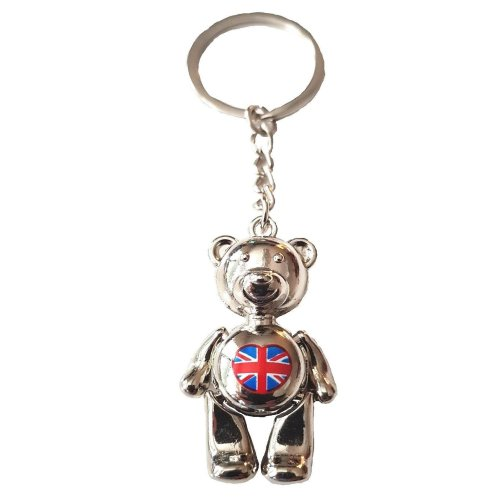 UK GB Metal Teddy Bear Keyring Key Chain Charm Souvenir Union Jack Flag Love Heart