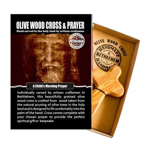 Child's Morning Prayer Olive Wood Cross Christian Made In Bethlehem