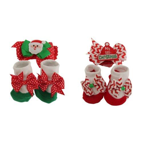 Nursery Time Baby Christmas Headband And Socks Set