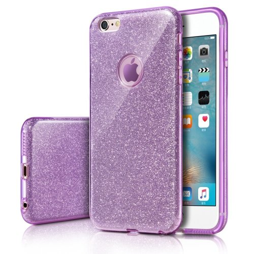 buy online 48bbc c1289 iPhone 6s Case, Milprox Girls SHINY GLITTER CASE [Bling Crystal  Clear][Extremely Sparkly], Slim Premium 3 Layer Hybrid, Anti-Slick/  Protective/...