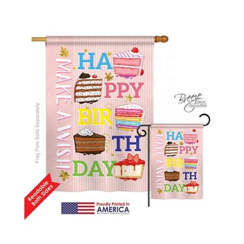 Breeze Decor 15114 Party & Celebratio Make a Wish 2-Sided Vertical Impression House Flag - 28 x 40 in.