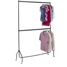 5ft long x 7ft Two Tier Heavy Duty Clothes Rail  In Black