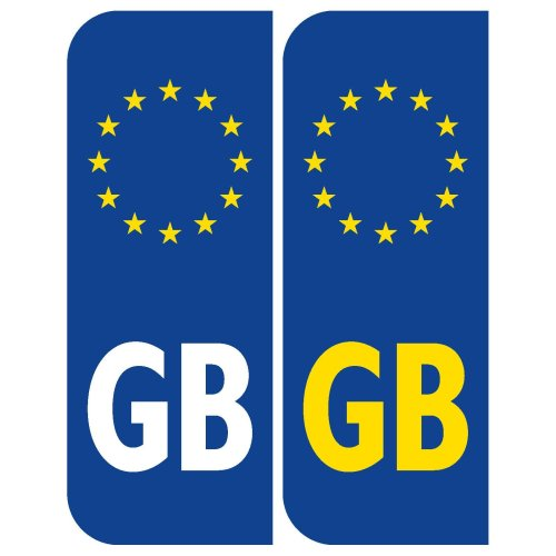 2 x Euro GB Badge Car Number Plate Self-adhesive Vinyl Stickers European decals