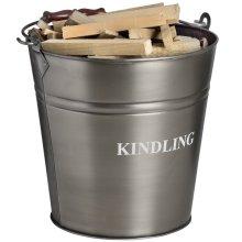 Antique Pewter Kindling Bucket -  antique pewter kindling bucket