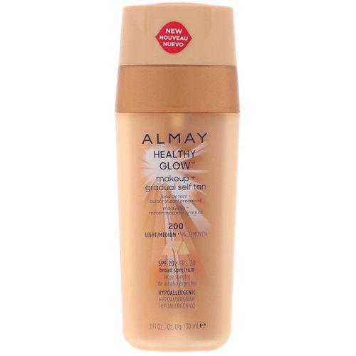 Almay Healthy Glow Make-up + Gradual Self Tan, 200 Light/Medium, SPF 20, 30 ml