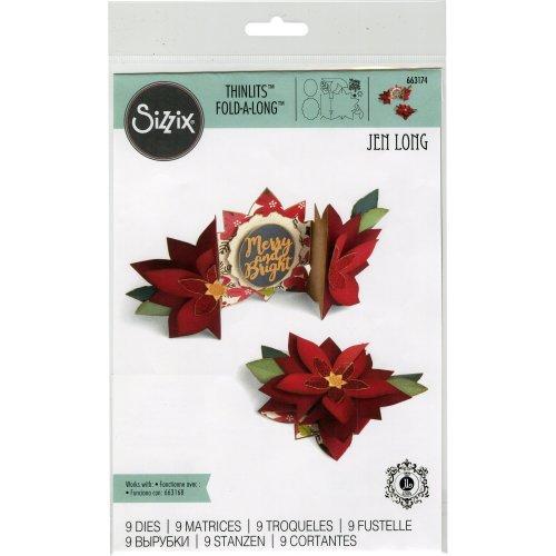 Sizzix Thinlits Dies By Jen Long 9/Pkg-Poinsettia Fold-A-Long Card