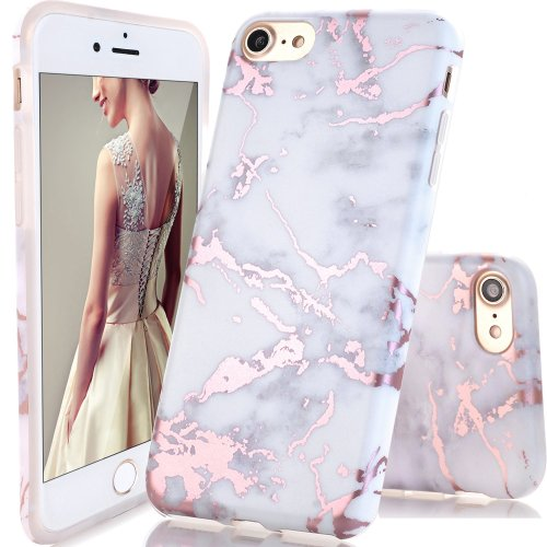 purchase cheap d353b 5f31d DOUJIAZ iPhone 6 Plus Case,iPhone 6S Plus Case, Rose Gold White Marble  Design Clear Bumper TPU Soft Case Rubber Silicone Skin Cover for iPhone 6...