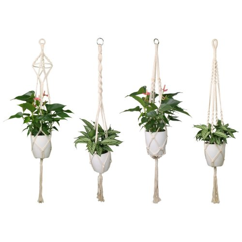 Luxbon 4 Pack Macrame Plant Hangers Indoor White Cotton Rope Flower