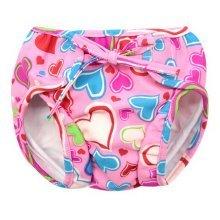 Baby Swim Trunks 0-3 Infants Cartoon Swimsuit Leakproof Swim Shorts, Pink Hearts