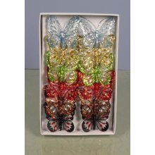 Mesh Butterflies - 8cm, Mixed Colours, Tray of 12