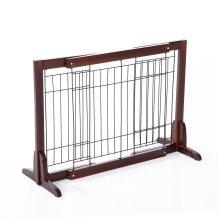 PawHut Freestanding Wooden Pet Fence | Adjustable Pet Gate 58-100cm